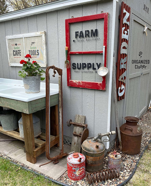 Photo of garden junk shed decor