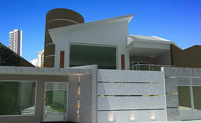 Construindo minha casa clean fachadas muros grades e for Casa moderna 7x15