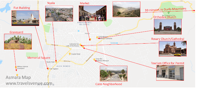 Guide Map with things to see in Asmara