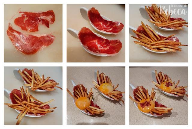 Cómo emplatar la tapa de jamón en texturas con patatas y yema