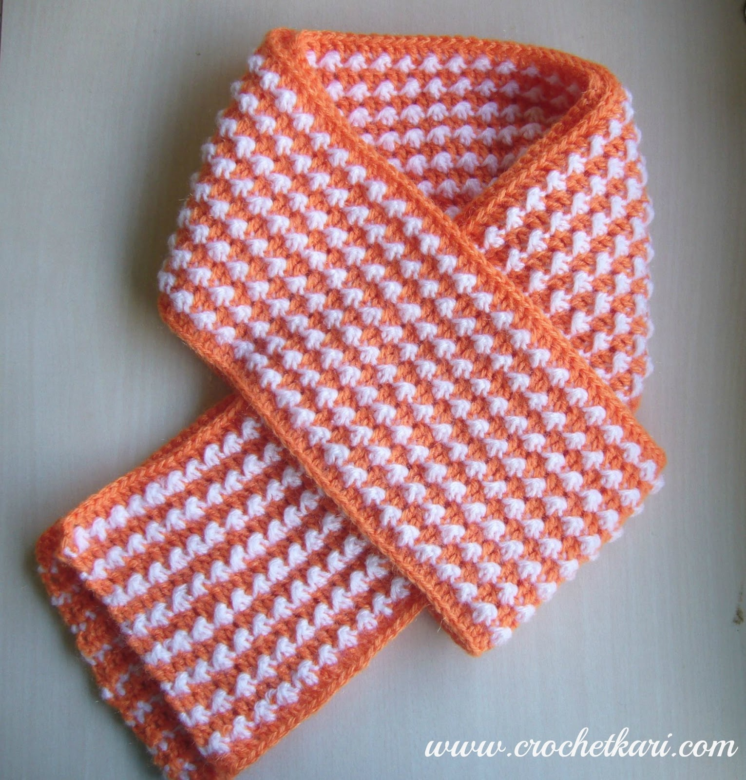 crochet orange scarf crochetkari