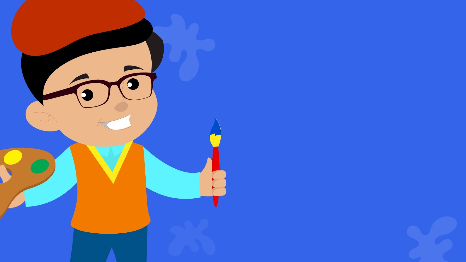 Cartoon Kid holding paint brush and colors - free background