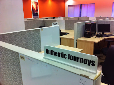The Authentic Journeys cubicle in the coworking space, NRITBI, in Infopark, Kerala.