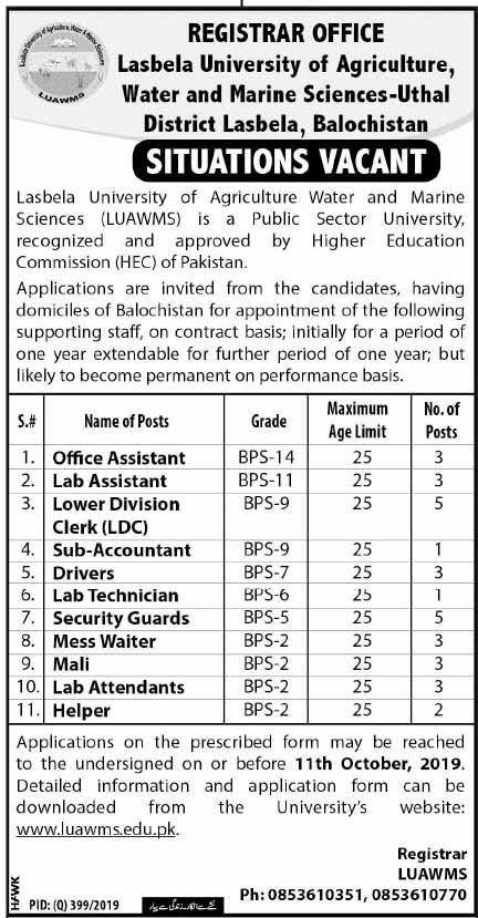 Vacancies in Lasbela University of Agriculture