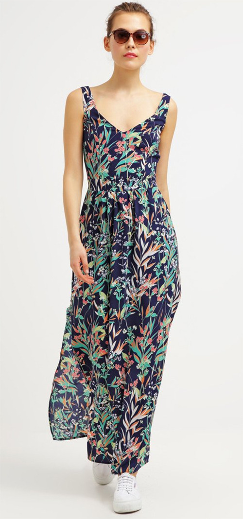 Robe longue été à fleurs sans manches Morgan bleu marine