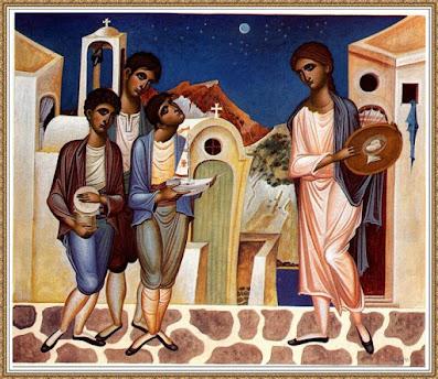 Πίνακας ζωγραφικής «Τα Κάλαντα» δια χειρός Γιώργου Κόρδη