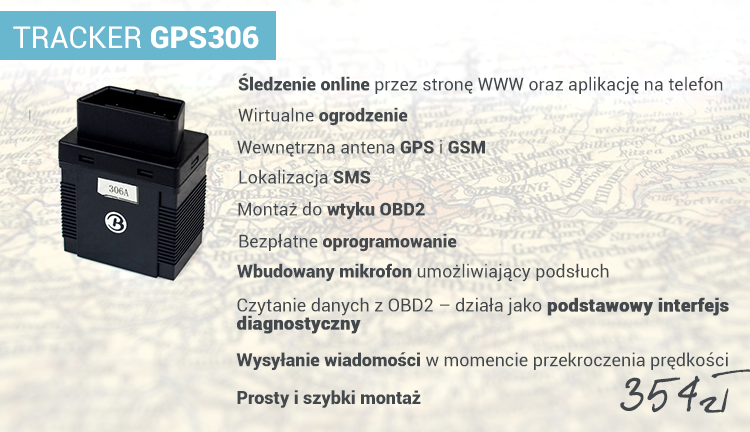 Specyfikacja produktu: TRACKER GPS 306