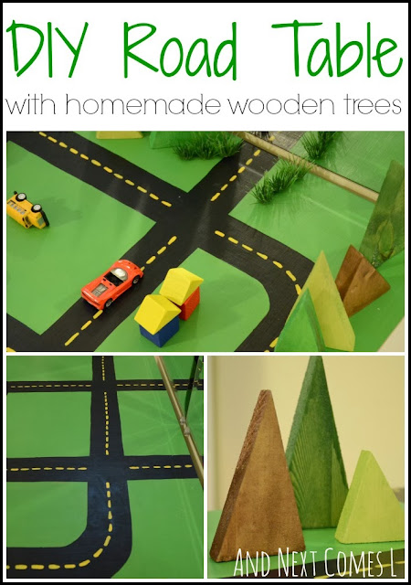 DIY road table with homemade wooden trees from And Next Comes L