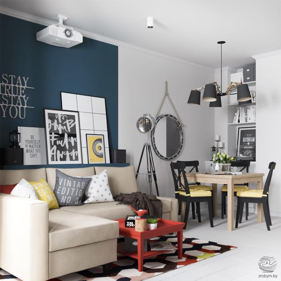 Kolorowe mieszkanie w Mińsku, wystrój wnętrz, wnętrza, urządzanie mieszkania, dom, home decor, dekoracje, aranżacje, biel, white, kolory, colors, salon, living room, kuchnia, jadalnia, kitchen