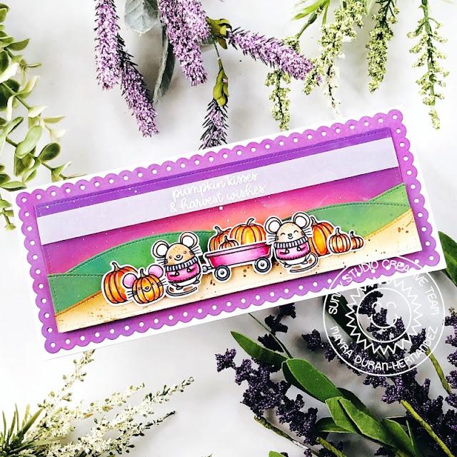 Sunny Studio Stamps: Harvest Mice Sliding Window Dies Slimline Dies Fall Themed Card by Mayra Duran-Hernandez