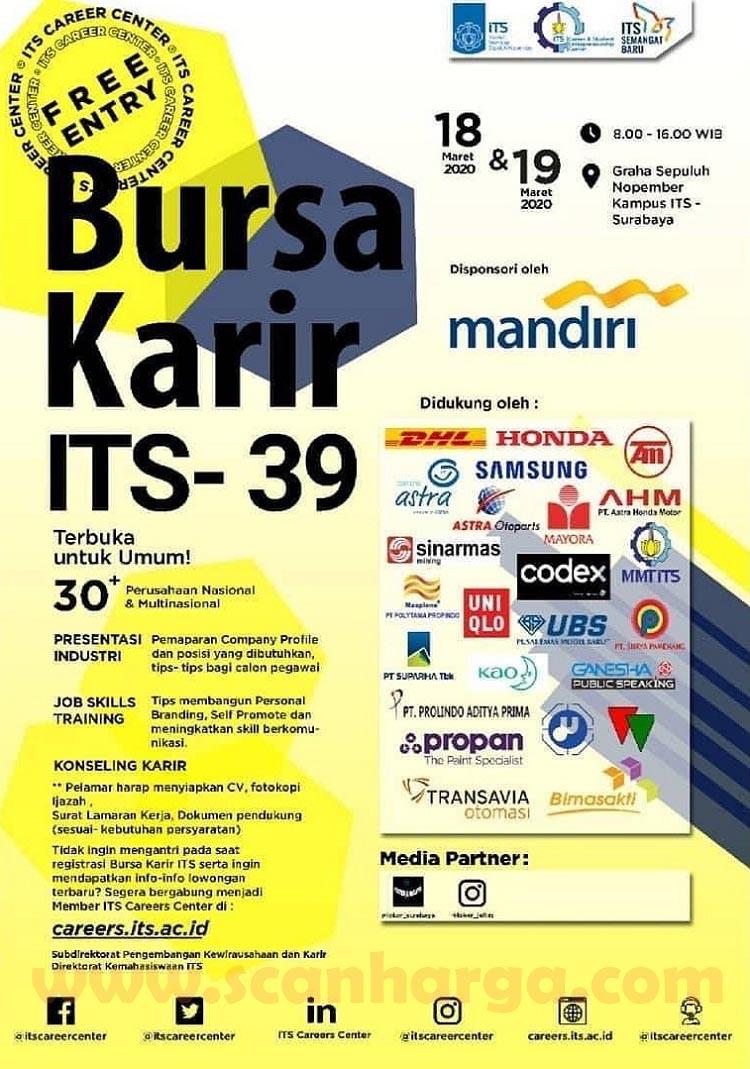 Job Fair Bursa Karir Lowongan Kerja ITS Ke-39 Di Surabaya 18 - 19 Maret 2020