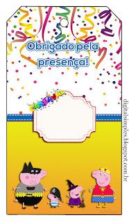 Marcapaginas para Imprimir Gratis de Peppa Pig en Carnaval.