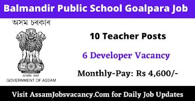 Balmandir Public School Goalpara Job 2021
