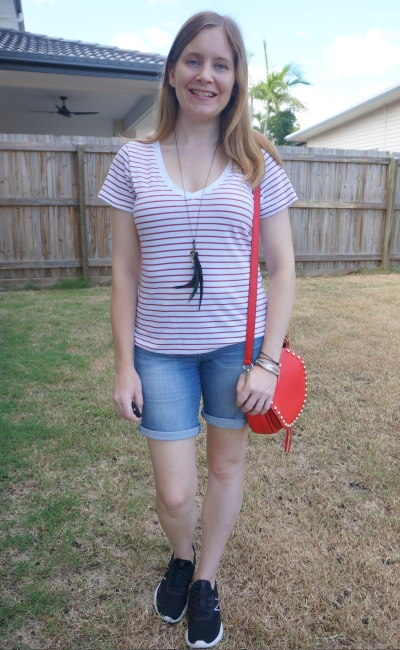 Cotton On The One fitted v tee in eddy stripe white / red terracotta with bermuda denim shorts red saddle bag park playdate outfit   awayfromblue