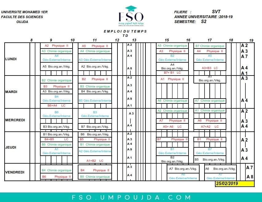 Emplois du Temps des TDs SVT S2 - Session Printemps 2018/2019