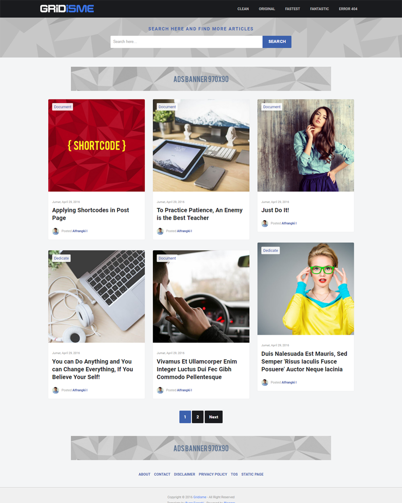 Gridisme - Clean and Mobile Friendly Blogger Template