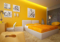 Bedroom decoration with yellow walls