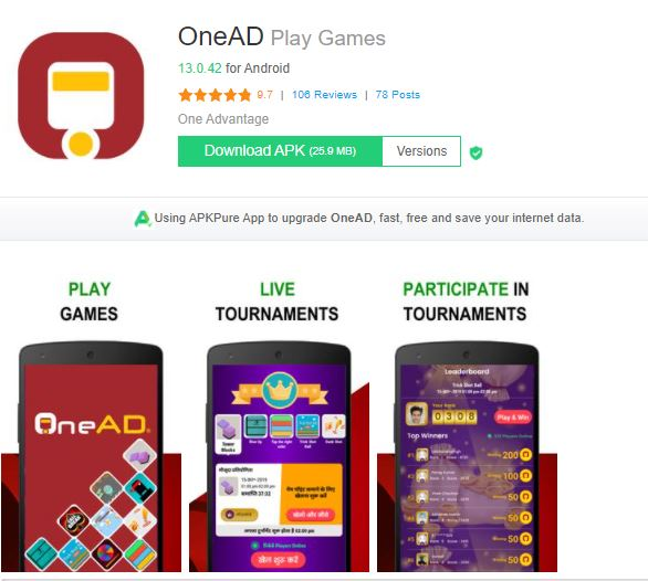 onead play games best money earning app