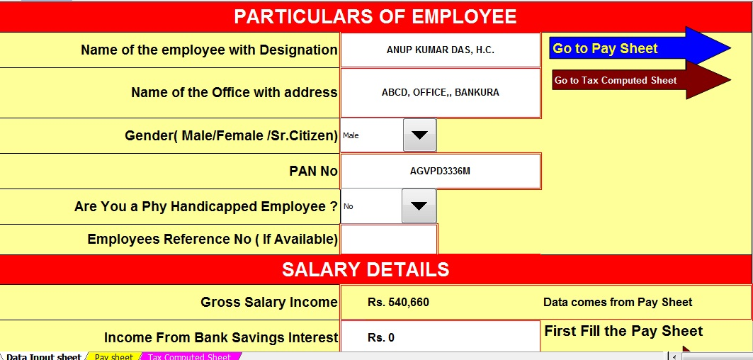 Income Tax Calculator For W.B.Govt Employees For F.Y.2016-17 And