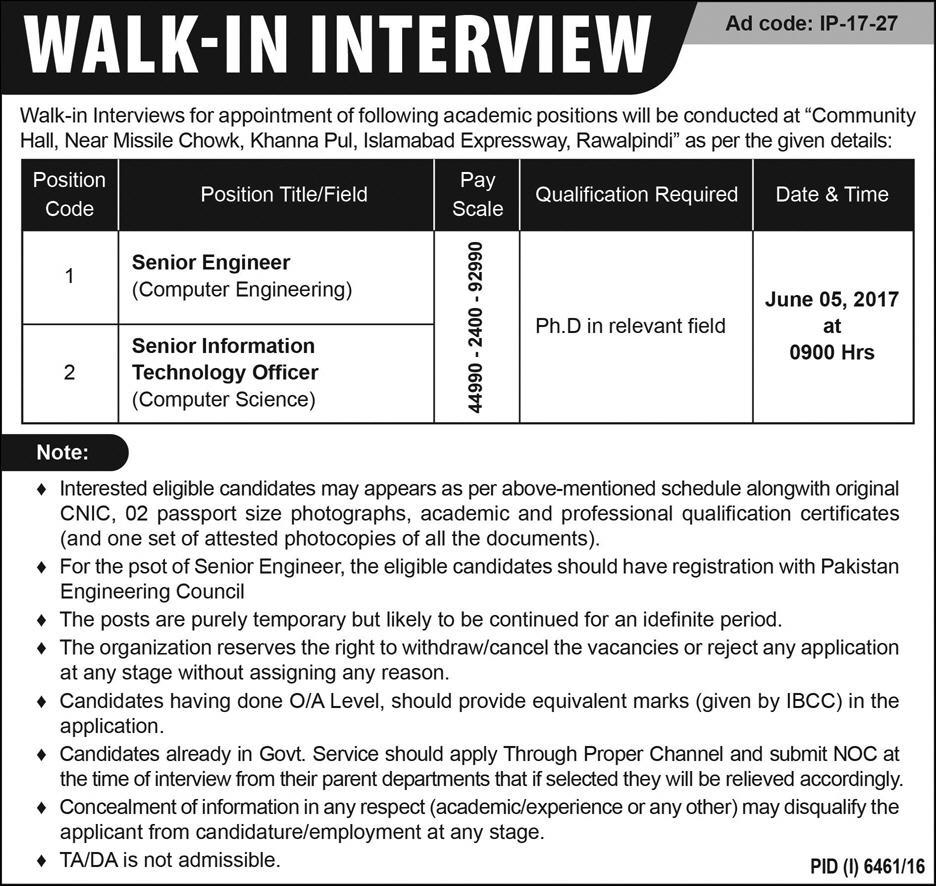 Senior Staff Jobs in Community Hall Islamabad Expressway Rawalpindi 28 May 2017