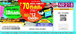 Kerala Lotteries Results 02-04-2021 Nirmal NR-218 Lottery Result