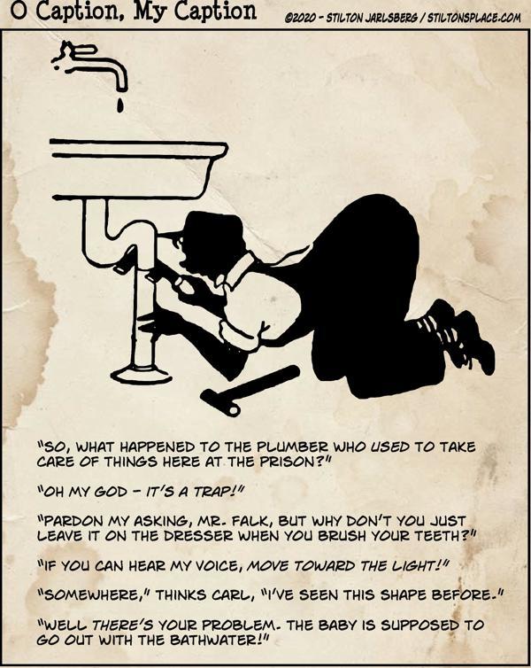 stilton's place, stilton, political, humor, conservative, cartoons, jokes, hope n' change, o caption, my caption, earwigs, plumber, drain, pipe, glass eye