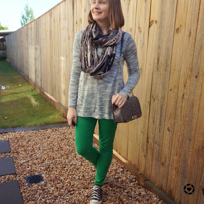awayfromtheblue Instagram | mum style green skinny jeans grey marle knit paisley print snood playdate outfit winter