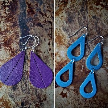 Purple leather handmade earrings in a tear shape and blue leather dangling double tear shaped earrings named after Kamala Harris and Jill Biden