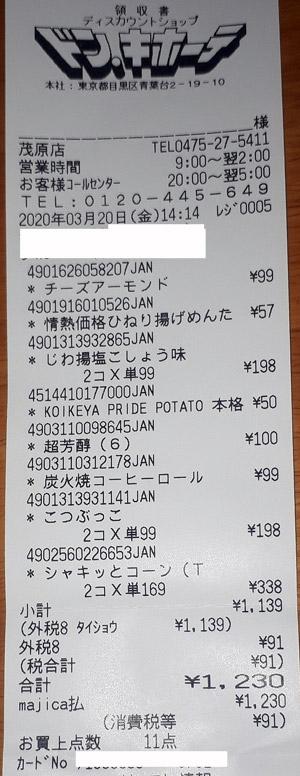 ドン・キホーテ 茂原店 2020/3/20 のレシート