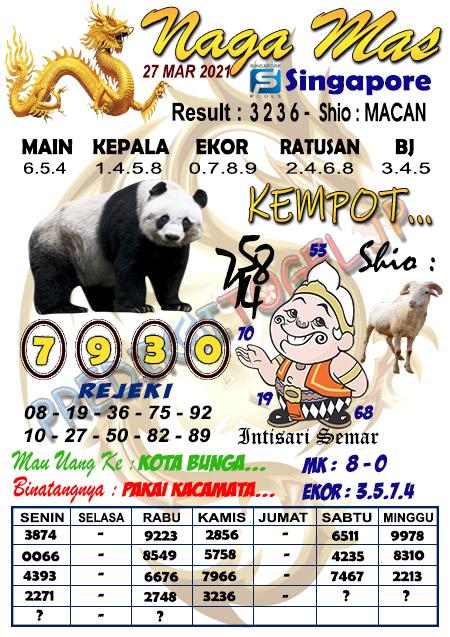 Syair Naga Mas SGP Sabtu 27 Maret 2021