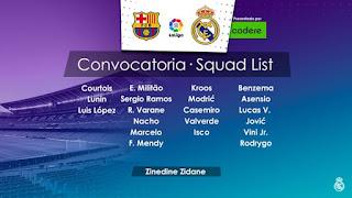Los Convocados por Zidane para enfrentar al Barça