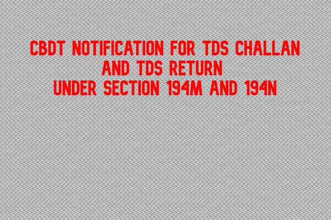 CBDT Notification for TDS Challan and TDS Return under 194M and 194N