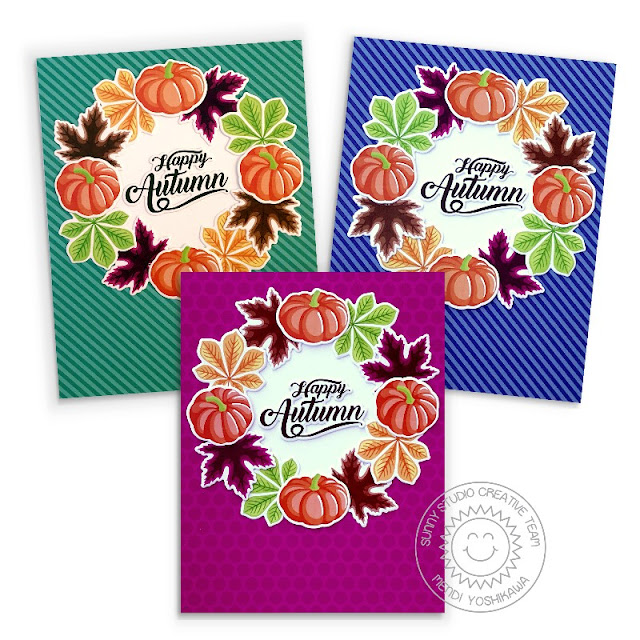 Sunny Studio Happy Autumn Fall Pumpkins & Leaves Wreath Card Set (using Crisp Leaves 4x6 Clear Stamps & Dots and Stripes Jewel Tones Paper)