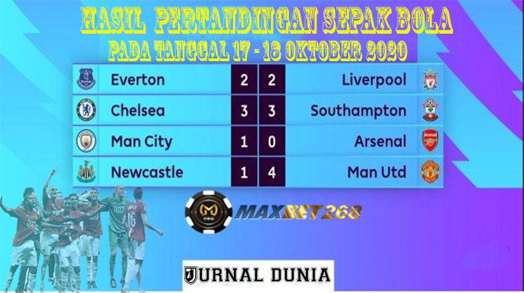 Hasil Pertandingan Sepakbola Tanggal 17 - 18 Oktober 2020
