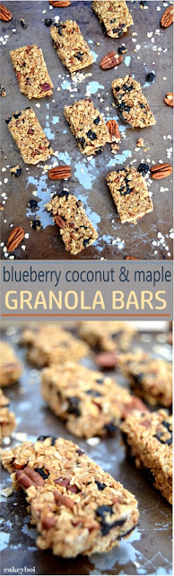 Granola bars with oats, maple syrup, coconut oil coconut sugar and dried blueberries.