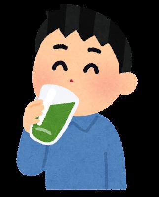 青汁を飲む人のイラスト(男性)
