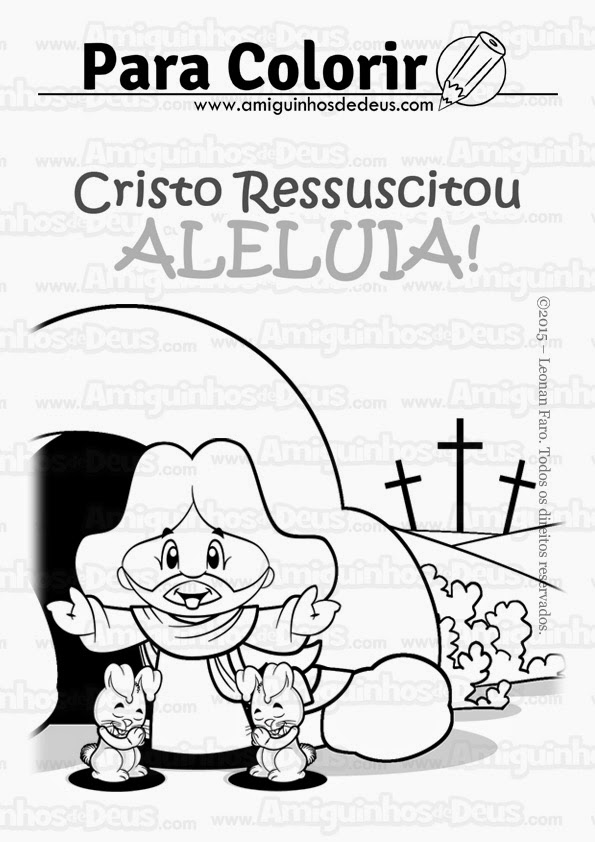 felizpáscoa jesus ressuscitou aleluia desenho para colorir