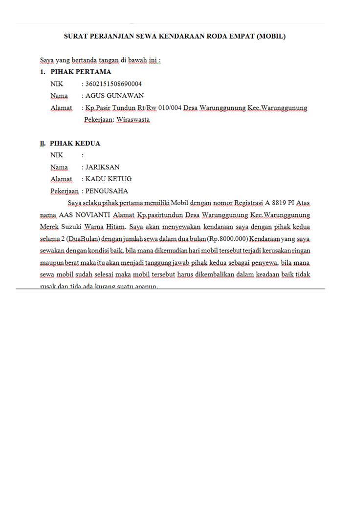 Contoh Surat Perjanjian Sewa Menyewa Mobil 2010