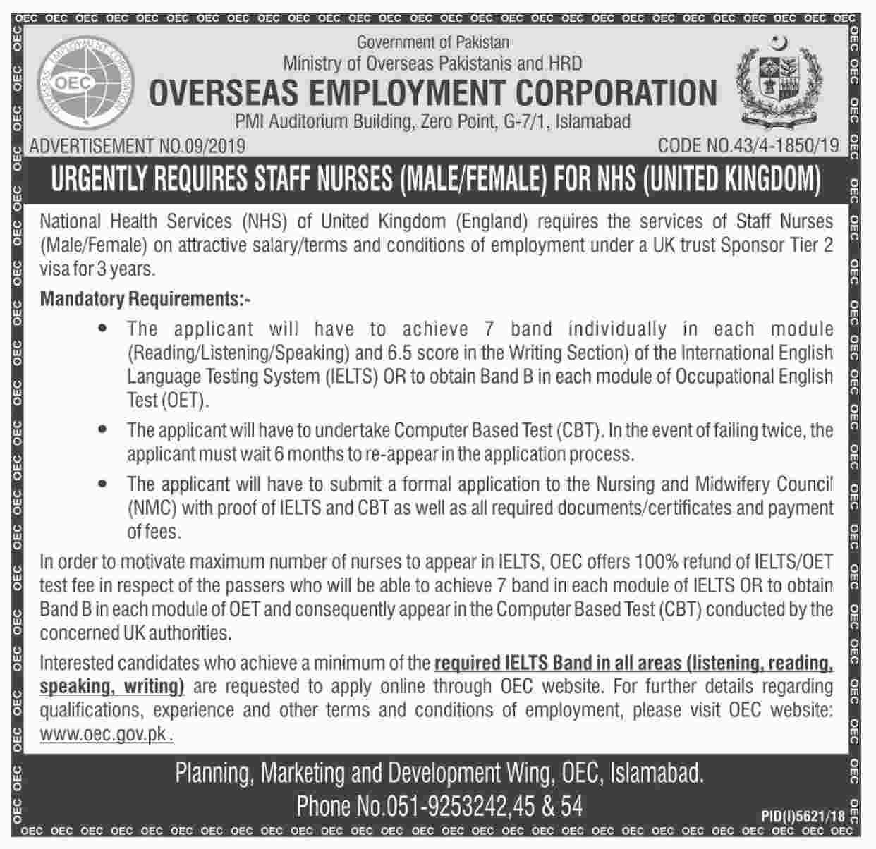 Ministry Of Overseas Pakistanis And Human Resource Development Jobs