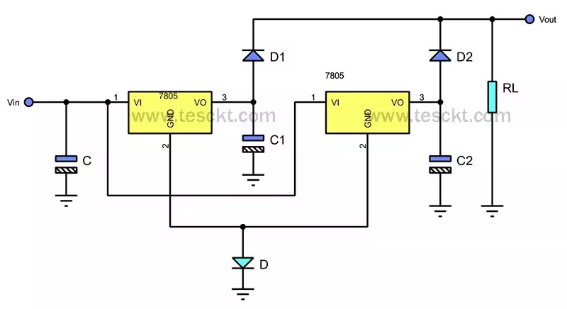 7805 regulator in parallel using diode