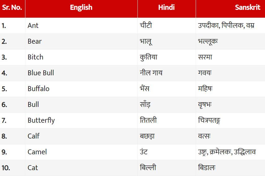 Animals Name in Hindi, Sanskrit