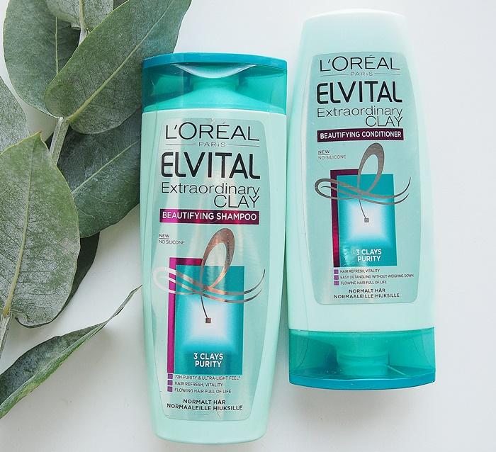 Loreal Extraordinary Clay shampoo hoitoaine rasvoittuville hiuksille marketista
