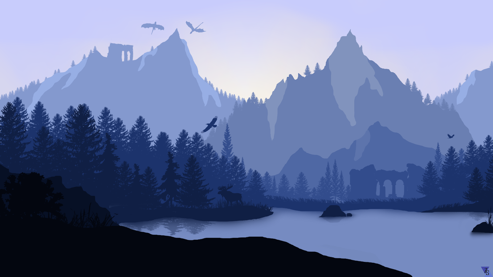 Dragons and minimalist landscape wallpaper for desktop