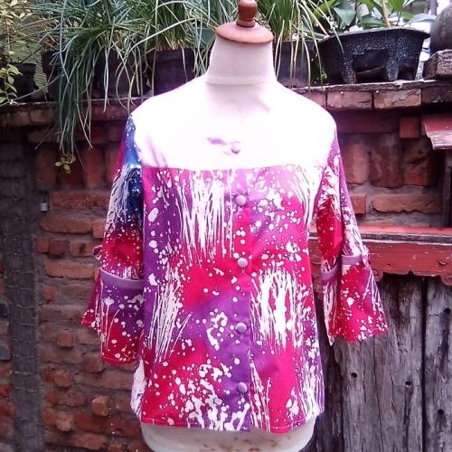 Blus Batik Gebyok Kombinasi Pink Ungu
