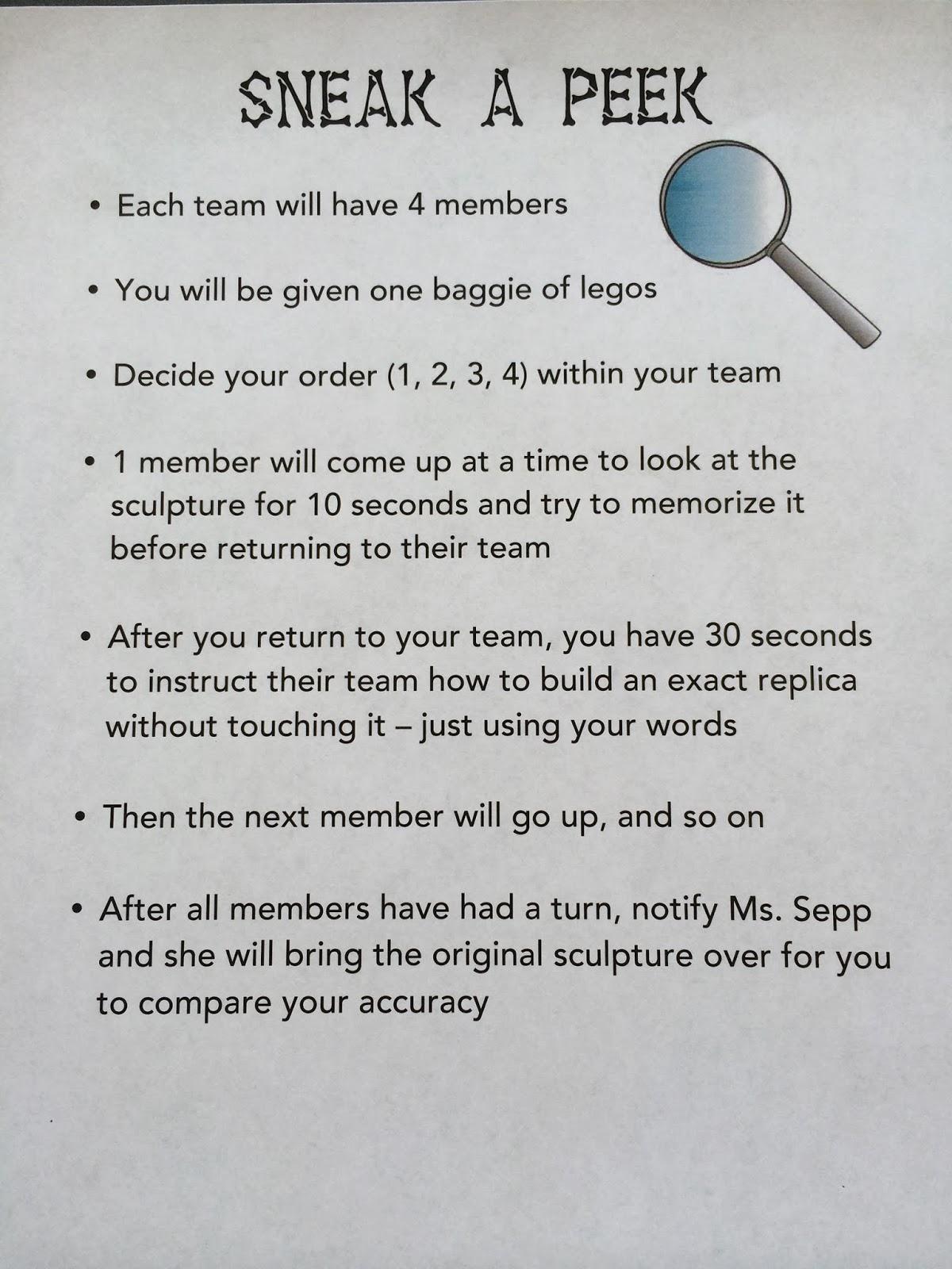 Ms. Sepp's Counselor Corner Team Building Sneak a Peek