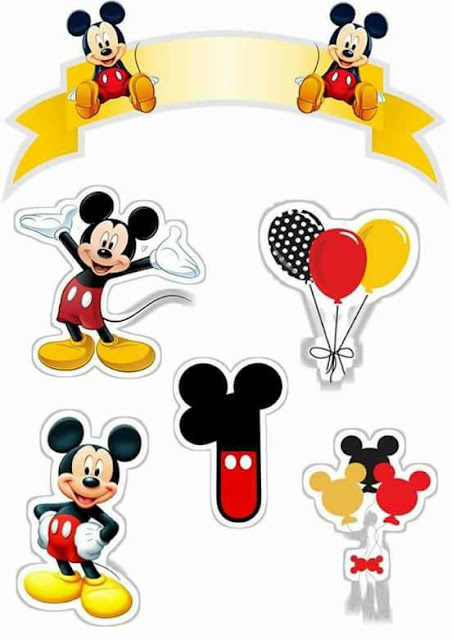 Mickey First Year: Free Printable Cake Topper.