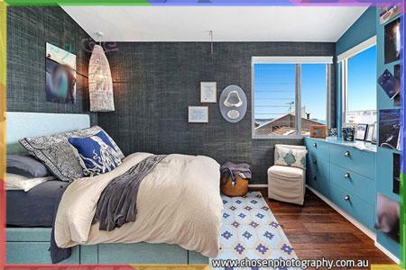 غرف نوم رصاصي مع أزرق