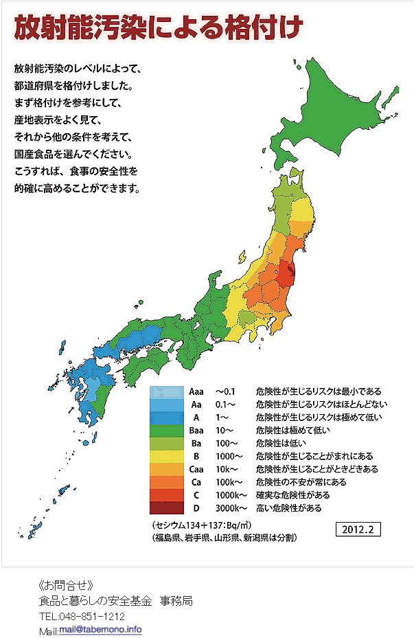 日本の都道府県 放射能格付け ...