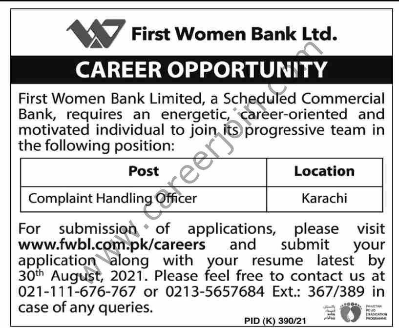 First Women Bank Ltd Jobs Complaint Handling Officer