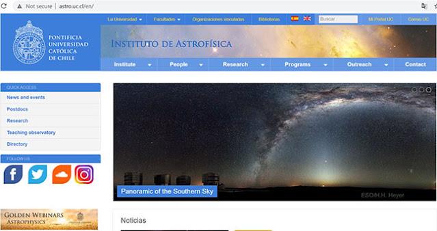 Golden Webinars in Astrophysics (Source: http://astro.uc.cl/en)